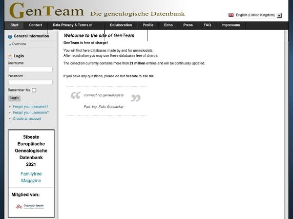 Screenshot von http://genteam.at/index.php